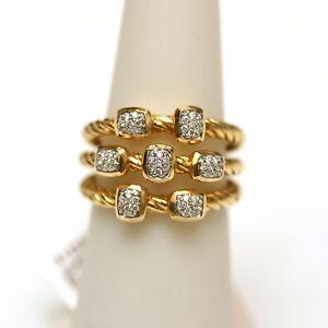 7ce6ce7b8903f DAVID YURMAN New 18K Yellow Gold   Pave Diamond 3 Row Narrow ...