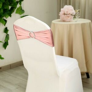 10 Rose Gold Metallic Spandex Chair Sashes Silver Buckles Wedding Decorations Ebay
