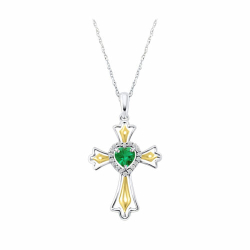 CROSS HEART SHAPE PENDANTS 14K WHITE GOLD FN 925 STERLING SILVER EMERALD STONE