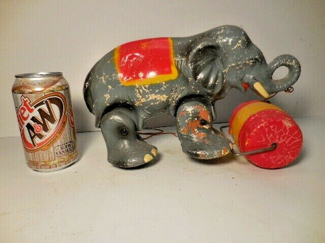 Antique Vtg Large Composition Rampwalker ELEPHANT WITH BARREL Walking Pull Toy
