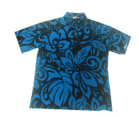 Hawaiian Iolani Pono Navy Black Polyester Knit Pull Over Men Aloha Shirt-m,l,xl