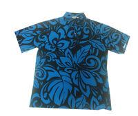 Hawaiian Iolani Pono Navy Black Polyester Knit Pull Over Men Aloha Shirt-m,l,xl