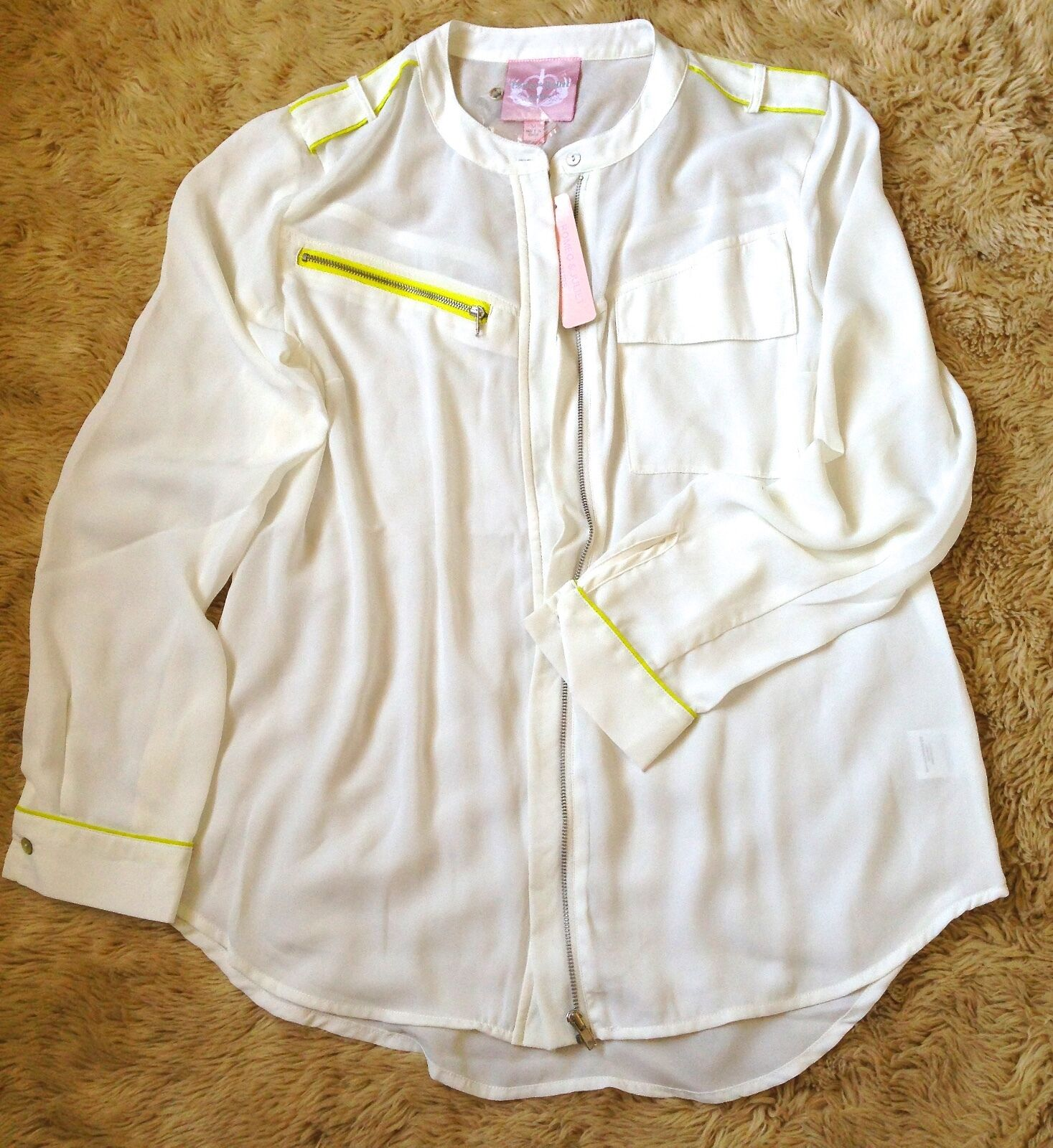 BRAND NWT  ROMEO & JULIET COUTURE IVORY ZIPPER TOP BLOUSE  SIZE L