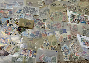 WORLDWIDE-STAMP-COLLECTION-OFF-PAPER-LOT-50-COUNTRIES-NO-UNITED-STATES