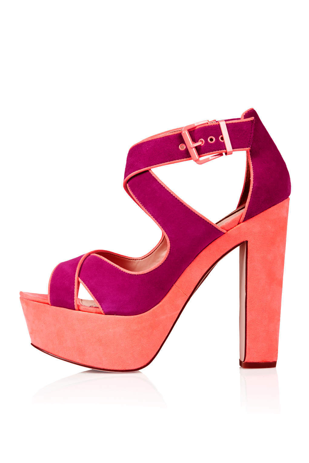 NEU TOPSHOP SURE cross over platform schuhe UK 6 in Coral