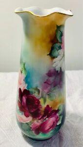 O-amp-EG-Royal-Austria-1787-Hand-Painted-Roses-Floral-Vase-Artist-Signed-M-M-Stilson