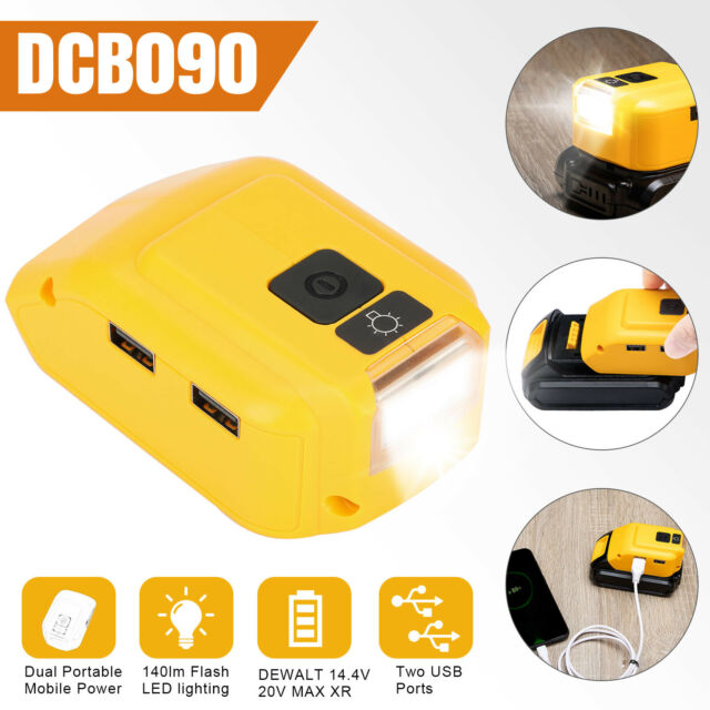DCB090 Power Source Battery Adapter Charger Tool For Dewalt 18v 12V 20V Dual USB Battery Charging Adapter with LED