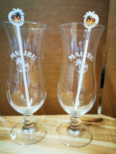 2 x Malibu 44cl Hurricane Pina Colada Cocktail Glasses 2 x Malibu Stirrers New