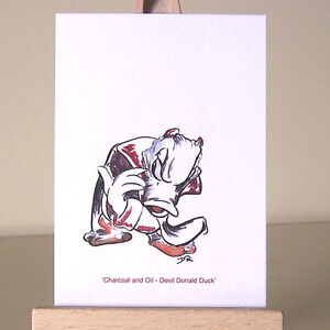 Devil-Donald-Duck-ACEO-Art-Card-WDCC-mixed-media-drawing