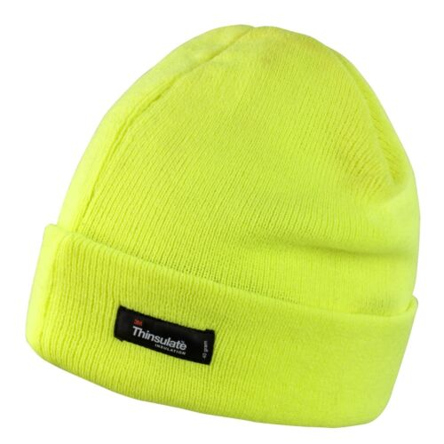 RESULT KNITTED LIGHT THINSULATE HAT 5 Cols WARM FLEECE LINED BEANIE WORK UNISEX