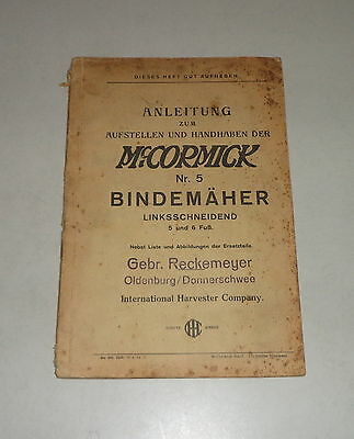 The Best Operating Instructions/parts Catalog Ih Mccormick Bindemäher No In 5 Exquisite Workmanship