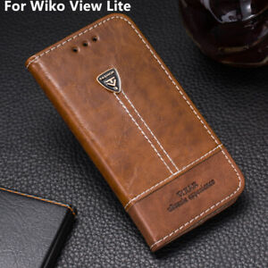 Retro-Phone-Stand-Case-Leather-Slots-Wallet-Flip-Cover-5-45-039-039-For-Wiko-View-Lite