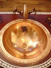 Copper Moroccan hand hammered round sink wash basin + design