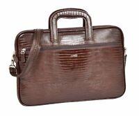 Real Leather Snake Print Organiser Portfolio A4 Documents Cross Body Bag Brown