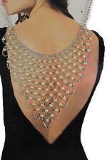 Women Open Back Pendant Necklace Silver Metal Bling Fashion Jewelry Long Pearls
