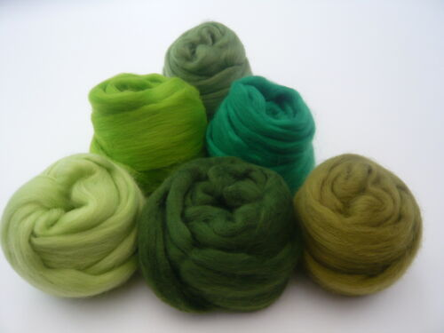 /'Gleeful Greens/' Heidifeathers® Merino Wool Tops Felting Wool