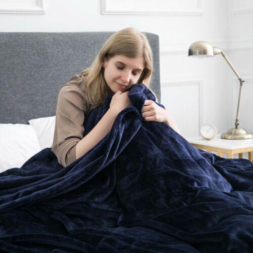 Warm Solid Super Soft Faux Fur Fleece Throw Mink Large Sofa Bed Blanket
