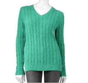 Croft Barrow Womens Cable Knit Sweater Pullover Xs Nwt V Neck Mint