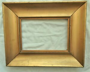 ANTIQUE FITS 7X10 LEMON GOLD GILT PICTURE FRAME WOOD FINE ART COUNTRY PRIMITIVE