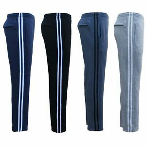 New-Men-039-s-Fleece-Lined-Casual-Sports-Track-Suit-Striped-Sweat-Pants-Gym-Trackies