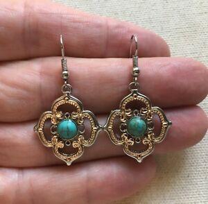 Glitter and Resin Antiqued Silver Blue Swirl Earrings