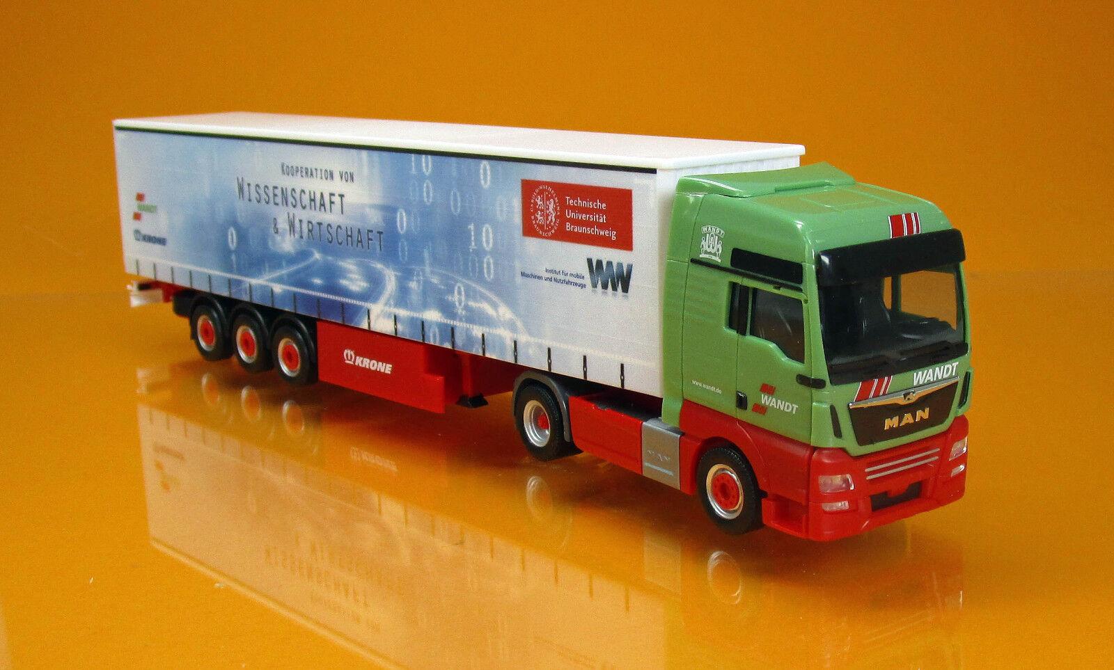 Herpa 307925 MAN TGX XXL rideaux planifier semi-remorque camion rappelée TU marronschweig 1 87