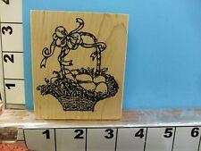 Northwoods Easter egg wicker basket with ribbon rubber stamp 1J