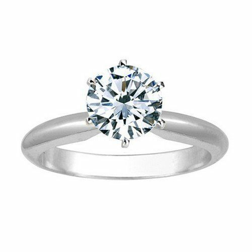 2 3 Carat Round Cut Diamond Solitaire Engagement Ring 14K White gold 6 Prong 7.5