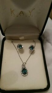 Image Is Loading Emerald Necklace And Earrings