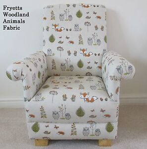 Image Is Loading Fryetts Woodland Animals Fabric Child Chair Fox Owl
