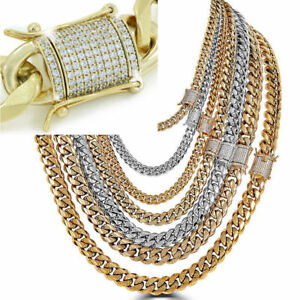 Miami-Cuban-Link-Chain-W-1ct-Diamond-Clasp-14k-18k-Gold-Plated-Stainless-Steel