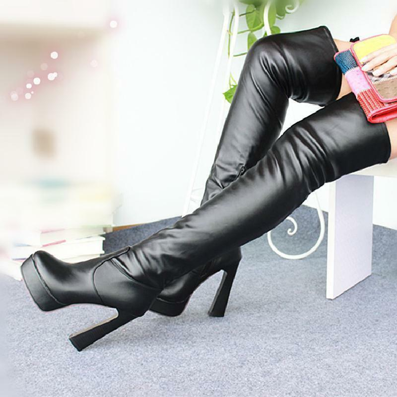 Women Block Heel Stretchy Thigh High Boots Pull On Platform Over Knee High Boots