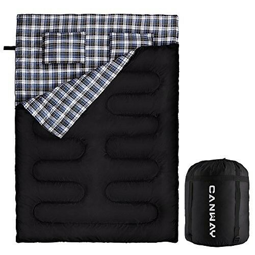 Canway Double Sleeping Bag Flannel Sleeping Bags With 2 Pillows For Camping
