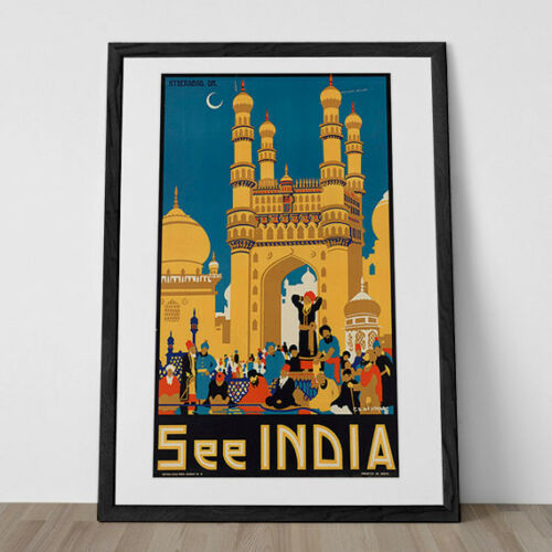 Art Deco Poster India Poster Art Deco Print INDIA TRAVEL Travel Poster Travel Pr