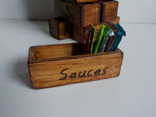 Choose from 3 colours. Rustic Handcrafted Solid Wooden Condiment sachet holder