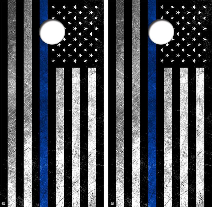 bluee Line Flag bluee Lives Matter Cornhole Board Skin Wrap FREE SQUEEGEE