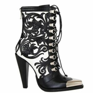 57895-auth-BALMAIN-black-amp-white-leather-WESTERN-CALAMITY-Boots-Shoes-38