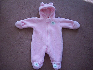 bc3268d0f Baby Girl Carter s one-piece hooded snowsuit coat 3 months pink ...