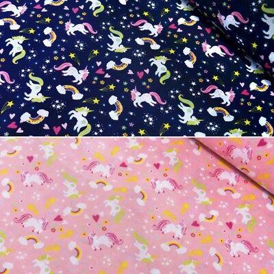 Polycotton Fabric Magical Rainbow Unicorns And Stars