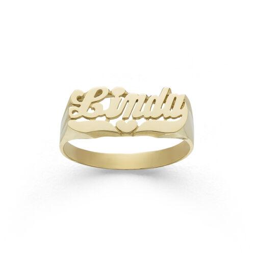 LEE103 10k or 14k Gold 7.5mm Shining Heart Name Ring