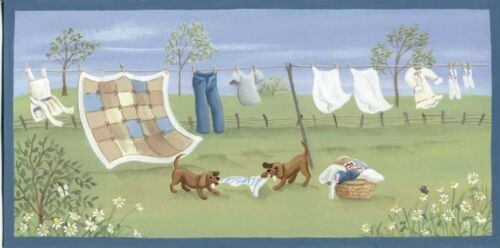 """Country Primitive Wood dog puppy clothes spring Laundry Room Decor Sign  4.5x10/"""""""