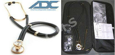 """ADC Adscope 645 Sprague 18K Gold 22"""" Professional Special Edition Stethoscope US"""