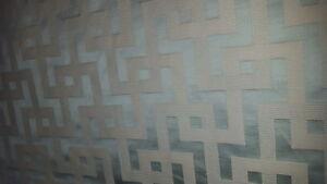Geometric Greek Key Woven Texture Spa Aqua Beige Upholstery Fabric