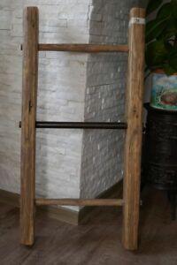 j5 GemäßIgt Alte Schöne 3-sprossige Holzleiter 85cm Handtuchhalter Kleiderständer,