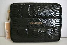 New Michael Kors Ipad Mini Organizer Case Black Python Print Leather in Wrap