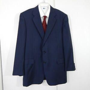 navy HICKEY FREEMAN LORO PIANA SUPER 120S jacket blazer sport coat 100% wool 44R