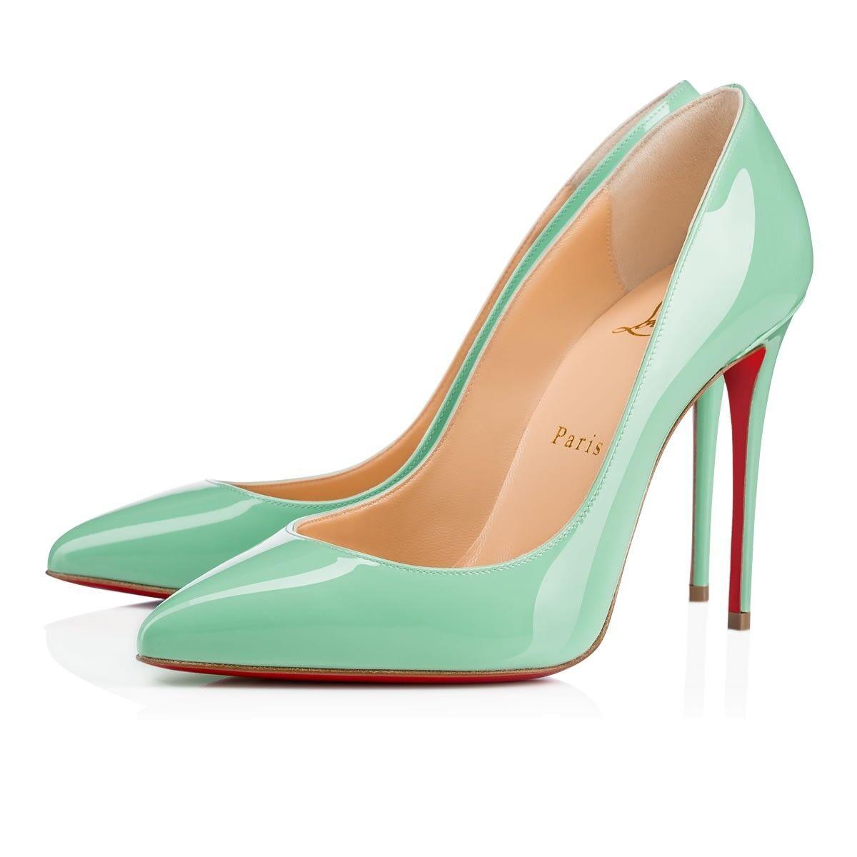 NIB Christian Louboutin Pigalle Follies 100 Opal Green bluee Patent Heel Pump 41