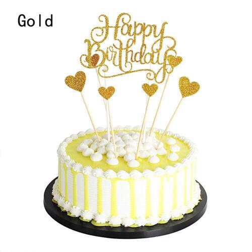 7pcs//set Glitter Happy Birthday Cake Topper Love Heart Cake Decor Supplies