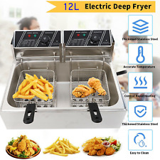 New 12l Electric Deep Fryer 1 Tank Stainless Steel 2 Fry Basket Commercial 5000w