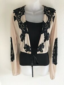 LUXXEL-Tan-And-Black-Lacy-Crop-Top-Size-M-Medium